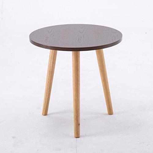 LY88 massief hout kleine ronde bank tafel, eenvoudige snack lezen eettafel, woonkamer slaapkamer kantoor balkon bijzettafel (kleur: Burlywood, Maat : 50 * 45cm)