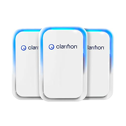 Clarifion - Negative Ion Generator with Highest Output (3 Pack) Filterless Mobile Ionizer Travel Air Purifier, Plug in, Eliminates: Pollutants, Allergens, Germs, Smoke, Bacteria, Pet Dander & More