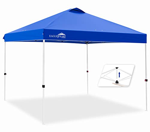 EAGLE PEAK 10' x 10' Pop Up Canopy Tent Instant Outdoor Canopy Easy Set-up Straight Leg Folding Shelter with 100 Square Feet of Shade (Blue)