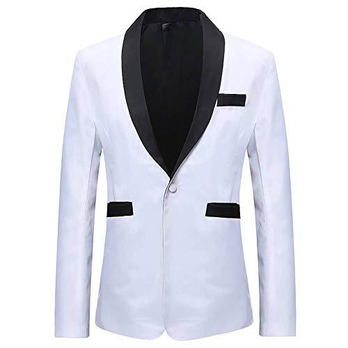 'N/A' Uomini Fit Bianco Nero Tasca Plus Size Casual Floreale Vestito Vestito Giacca bianco XL