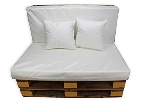 Conjunto 4 Piezas Impermeables Sofá de Palets, Asiento Palet 120x80 cm + Respaldo + Dos Cojines. Cómodo y Elegante para Interior y Exterior. (Blanco, Funda Sin Relleno)