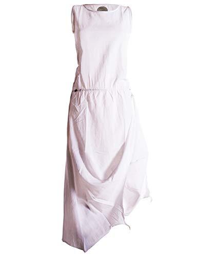 Vishes - Alternative Bekleidung - Ärmelloses Lagenlook Kleid aus Baumwolle zum Hochbinden weiß 36