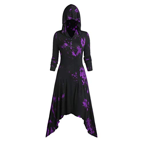 Halloween Gothic Dress for Women Girls Renaissance Costumes Hooded Medieval Long Sleeve Cosplay Vintage Dresses