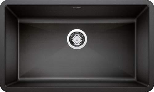BLANCO, Anthracite 440149 PRECIS SILGRANIT Super Single Undermount Kitchen Sink, 32