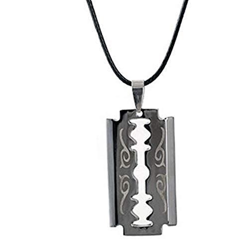 JSBVM Collar con colgante en forma de hoja de afeitar de acero inoxidable punk, collar de cuerda de cuero fresco para hombres, joyería de moda, collar de regalo para hombres