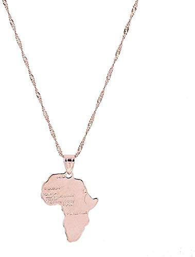 FACAIBA Collar con Colgante de Mapa Africano Hippie de Oro Rosa, Collar con Colgante de Mapa Africano para Mujeres y Hombres, Regalos de joyería