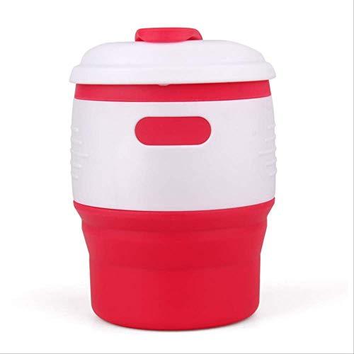 KYSM Nouveaux Produits en Silicone Bouilloire Pliante Portable Tasse Rétractable Poignée Tasse À Café 350ML Fraise Rouge