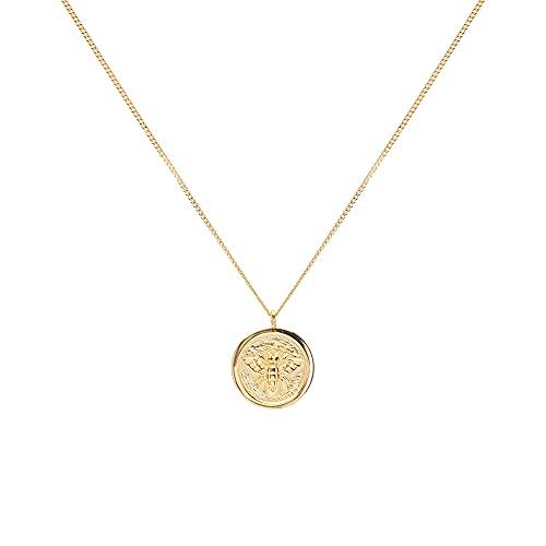 LUUK LIFESTYLE Collares de plata de ley 925 con colgante en diseño vintage, joyería de mujer, idea de regalo personal, materiales de calidad, estilo moderno, accesorio de moda, en plata y oro