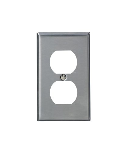 Leviton 84003-40 1-Gang Duplex Device Receptacle Wallplate, Standard Size, Device Mount, Stainless Steel