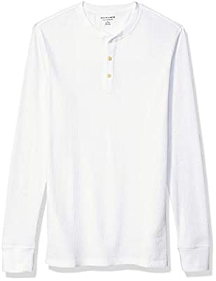 Amazon Essentials Men's Regular-Fit Long-Sleeve Waffle Henley, White, Large