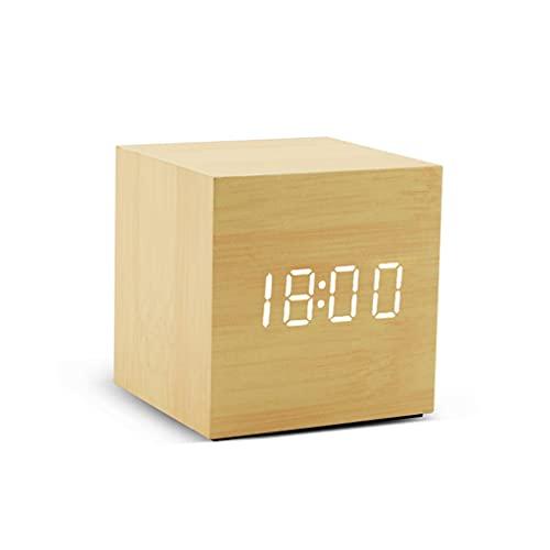 KLHDGFD Reloj despertador de madera, control de voz, digital, funciona con madera, electrónico, color A, tamaño: talla única