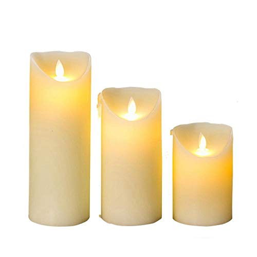 Creative candle LED Flameless Candles Light Smooth Flickering Paraffin Wax LED Candle with Timer Remote Control for Home Christmas Wedding Decor 3sizes1set