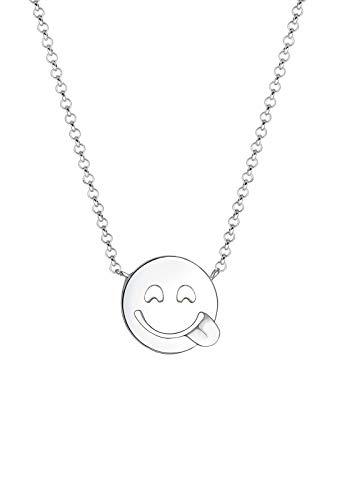 Elli Halskette Smiley Face Emotion Emoji 925 Sterling Silber