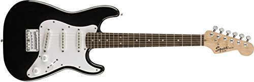 Squier by Fender Mini Stratocaster Beginner Electric Guitar - Indian Laurel Fingerboard - Black