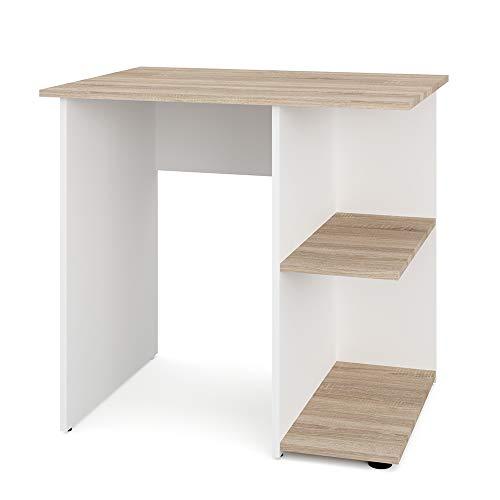 Vicco Schreibtisch Simple 76 x 82 cm - Schminktisch PC Tisch Kinderschreibtisch Arbeitstisch Computer Regal Büro Eckschreibtisch (Weiß/Sonoma Eiche)