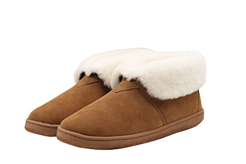SUPERLAMB Lady's Sheepskin Hard Sole Bootie Slippers (11)