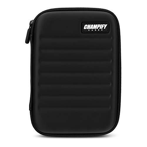 Champify® Darttasche schwarz mit Haltesystem | kein Verrutschen der Dartpfeile | Hard-Case zum Schutz für 6 Steeldarts oder Softdarts & vielen Taschen für Dart Flights & weiteres Darts Zubehör