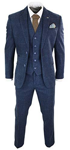 House Of Cavani Herrenanzug 3 Teilig Blau Marineblau 1920`s Peaky Blinders Vintage Retro