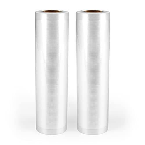 N8WERK Vakuum-Folienrollen 20x600 cm   2 Rollen für Vakuumierer inkl. 60 Sticker   Reißfest, BPA-frei   Sous Vide, gefrier- & mikrowellengeeignet