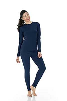 Thermajane Women's Ultra Soft Thermal Underwear Long Johns Set with Fleece Lined (Large, Navy)