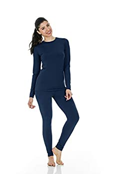 Thermajane Women s Ultra Soft Thermal Underwear Long Johns Set with Fleece Lined  Large Navy