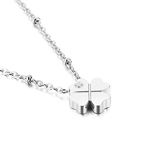Qings Collar de Plata Trébol de Cuatro Hojas -- Collar con Colgante de Circonita Cúbica de Acero Inoxidable