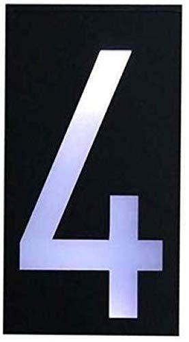 ENLAZY Solar - Hausnummer digitales Licht LED - Adressnummern Plaketten Hausnummernschild Wandschild Solarbetriebenes Nummernschild, 4