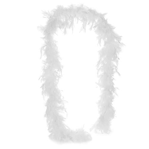 com-four Disfraces Retro Disfraz de Mujer de los aos 20 y Varias Extensiones - Look Charleston - Vestido de Lentejuelas Flecos Vintage, Boa Plumas, Collar Perlas, Pelucas (1 Pieza 180cm 50g Blanco)