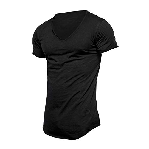 SSBZYES Camiseta De Algodón para Hombre Camiseta De Verano De Manga Corta para Hombre Camiseta De Color Sólido para Hombre Camiseta Casual De Manga Corta con Cuello En V Y Manga Corta De Verano
