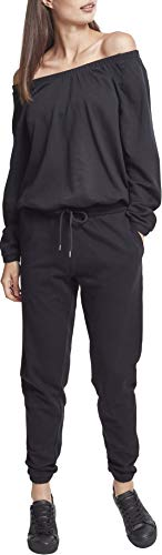 Urban Classics Damen Ladies Cold Shoulder Terry Jumpsuit, Schwarz (Black 00007), Medium