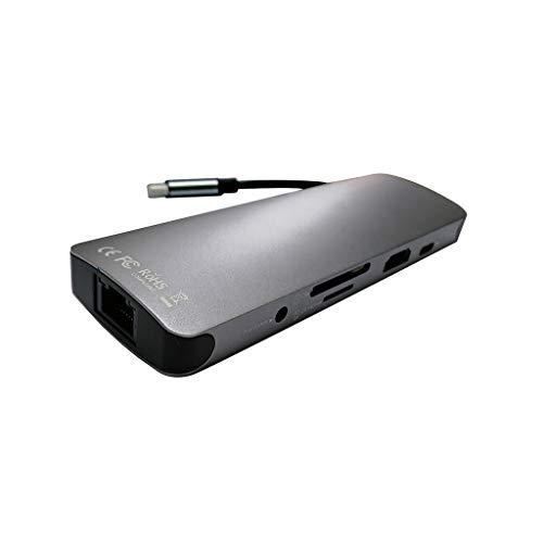 Bascar USB C Hub HDMI 4K Adaptador USB con USB 3.0 Lector de Tarjetas USB C Compatible Multifunción Adaptador Tipo C a HDMI RJ45 Audio PD Neun-in-One Multifunción USB (Gris)