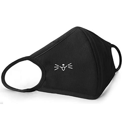 MKDASFD Mascaras Máscaras Protectoras a Prueba de Polvo y Hombres y Mujeres Transpirables Algodón Primavera Personalidad Marea Negra Máscaras Lindas de Dibujos Animados no Desechables