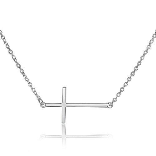 WithLoveSilver Collar con Colgante de Cruz y Cadena de Plata de Ley 925 de 16 Pulgadas con Extensor de 2 Pulgadas