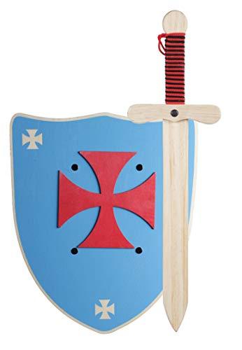 GERILEO Espada mas Escudo de Caballero de Madera artesanales - Complemento para Juegos y Disfraces. Disponible en Distintos Colores. (Escudo Azul - XL)