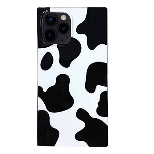 RRFNNF Square Cow Print Case Compatible with iPhone 12 Pro Max,Luxury Cute Cool Animal Pattern Soft TPU Silicone Slim Shockproof Protective Cover for iPhone 12 Pro Max 6.7 inch - (Black White)