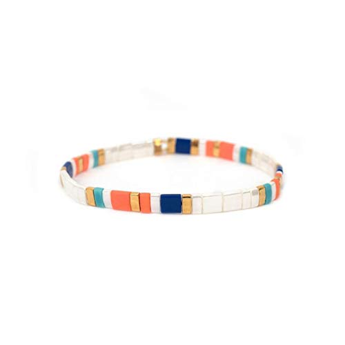Leiouser - Pulsera de estilo bohemio, hecha a mano con arco iris, apilable, rectangular, elástica, para verano y playa