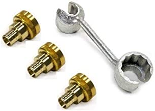 Viega Manabloc Install Kit - (1) Viega 50631 3/8-Inch and 1/2-Inch Manabloc Wrench and (3) Viega 46414 3/4-Inch by 1-Inch Crimp x Manabloc Supply Adapter - PureFlow Lead Free Brass Model: 50631-46414