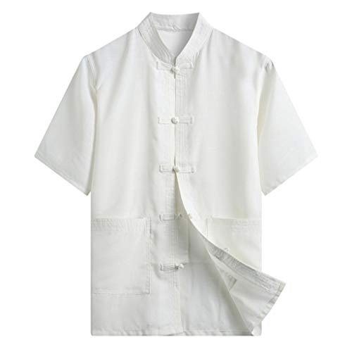Xmiral Herren Hemden Chinesischer Stil Shirt Einfarbig Knopf Stehkragen T-Shirt Summer Komfort Oberteile Sportshirt Sweatshirt(Weiß,3XL)