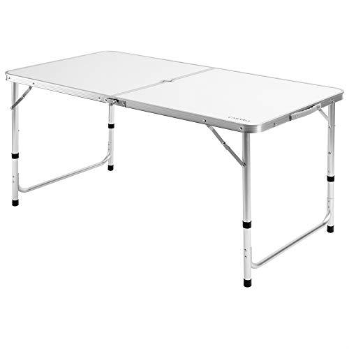 Casaria Mesa de Camping Plegable con asa para Transporte 120x60x70cm de Aluminio Altura Ajustable Blanco para jardín Patio