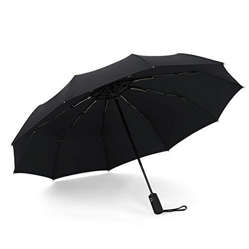 BDWS Paraguas Paraguas Plegable automático a Prueba de Viento Mujer Hombre Coche Gran Oferta Paraguas Doble Parasol Diez Huesos ParaguasNegro