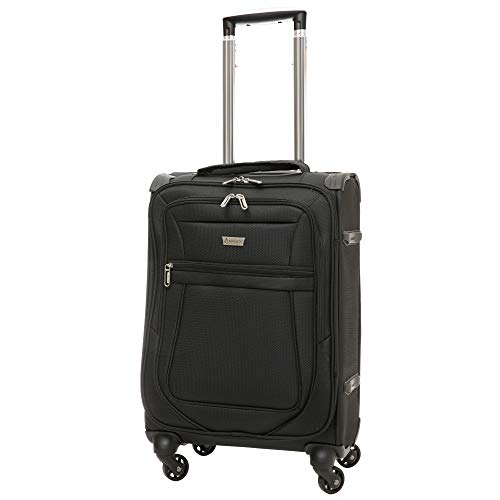 Aerolite Reinforced Super Strong and Light 4 Wheel Lightweight Carry On Hand Cabin Luggage Suitcase, Approved for Ryanair, easyJet, British Airways, Virgin Atlantic and Many More (Black)