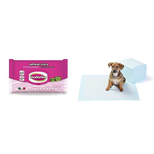 Inodorina Salviette Detergenti Latte/Vaniglia & Amazon Basics Tappetini igienici assorbenti per animali domestici, misura standard, 50 pz