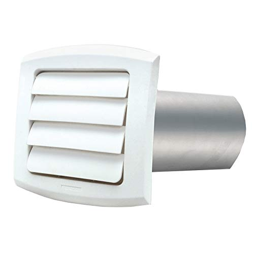 5 inch(s) Louvered White Vent Hood, with Tailpiece