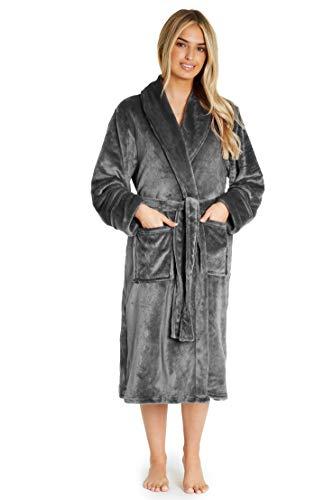 CityComfort Peignoir Femme | Robe de Chambre Femme Polaire Super Douce à Capuche | Peignoir de Bain Spa Épais Absorbant | Sortie de Bain | Idée Cadeau Femme Fille Ado (S, Gris foncé)