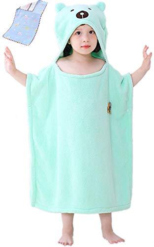 Toalla de bebé con capucha | Albornoz de felpa mullida | Toalla poncho con capucha | Toalla infantil con divertido turbante (Azul claro)