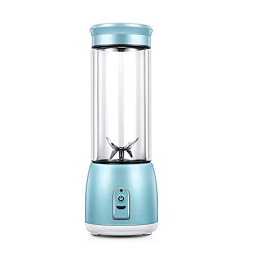 FENG&HE Juice Blender, Personal Blender with Grinder and Food Processor, Multi Mini Juicer Smoothie Maker, 6 Stainless Steel Blades, 380ml Potable Bottle,Blue