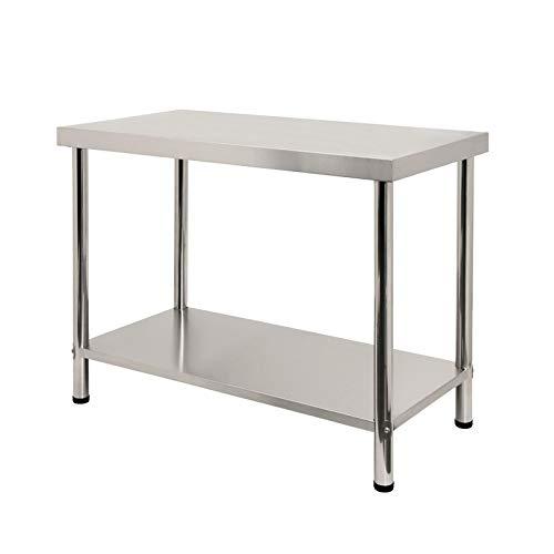 LZQ Professional Mesa de Trabajo 100 * 60 * 85 cm Inoxidable Mesa de Acero Mesa de Cocina de Acero Inoxidable Mesa Gastro Mesa de Preparación para (sin Protector contra Salpicaduras)