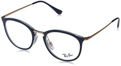 Ray-Ban Unisex-Erwachsene 0RX7140 Brillengestelle, Blau (Transparente On Top Blue), 49