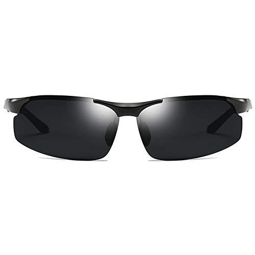 Hancoc Gafas De Sol UV400 Polarizadas for Uso Deportivo, De Aluminio Y Magnesio, De Doble Uso, Negras/Gris/Plateadas, for Conducir (Color : Black)