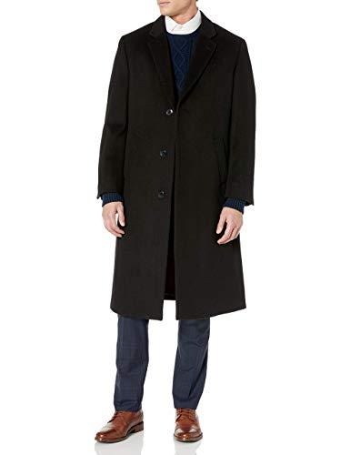 Adam Baker Men's Single Breasted 40811 Luxury Wool Full Length Topcoat - Solid Black - 40L